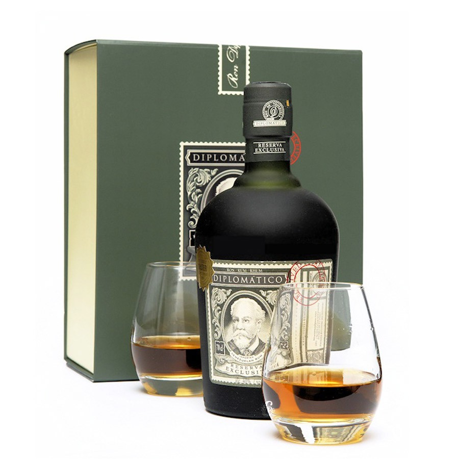 coffret rhum diplomatico r serva exclusiva 12ans avec 2 verres. Black Bedroom Furniture Sets. Home Design Ideas