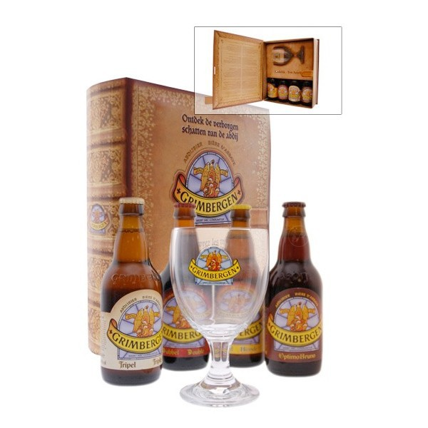 coffret manuscrit 4 bouteilles de bi re grimbergen 1 verre. Black Bedroom Furniture Sets. Home Design Ideas