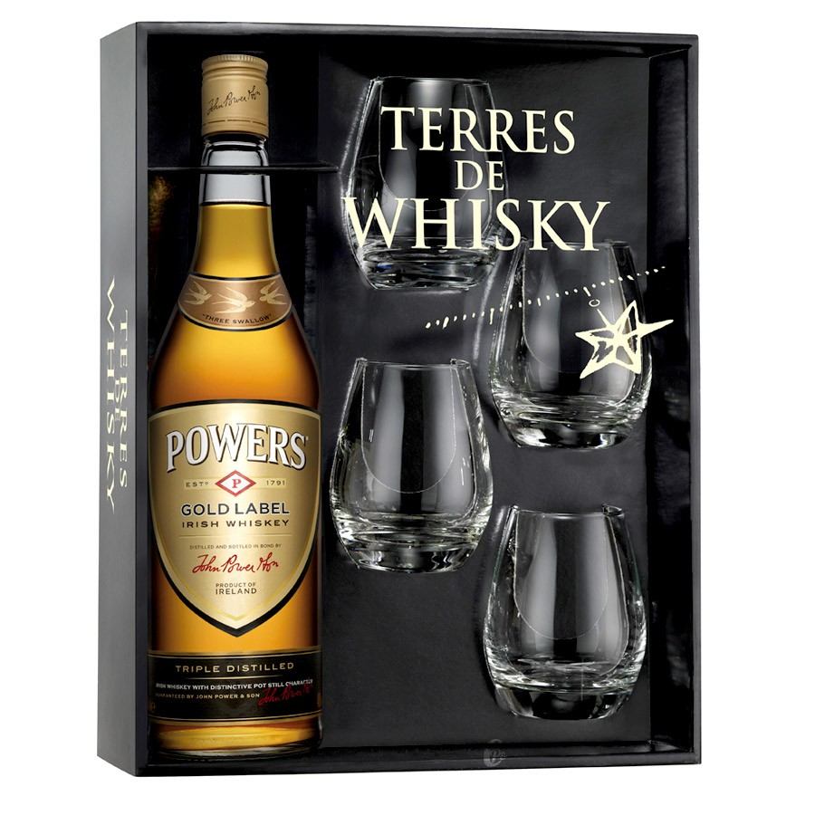 coffret terres de whisky powers gold label 70 cl 4 verres. Black Bedroom Furniture Sets. Home Design Ideas