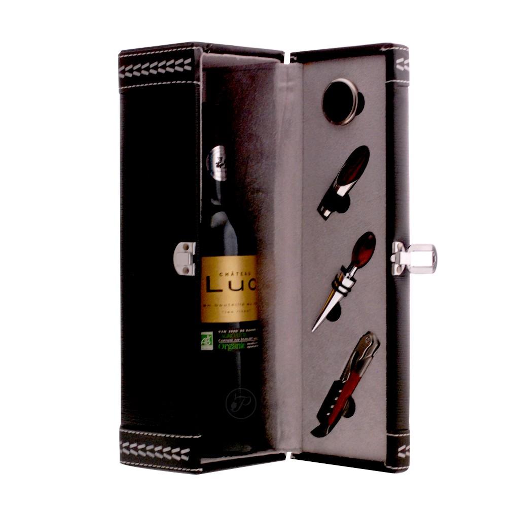 coffret vin et ses 4 accessoires 1 bouteille de vin de votre choix. Black Bedroom Furniture Sets. Home Design Ideas