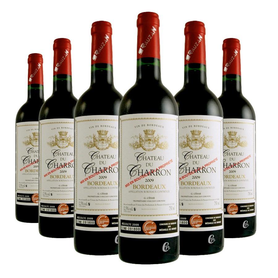 6 bouteilles de vin rouge du ch teau du charron aoc de bordeaux 75cl. Black Bedroom Furniture Sets. Home Design Ideas