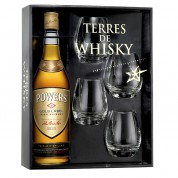 Coffret Terres de Whisky Powers Gold Label 70 cl + 4 verres